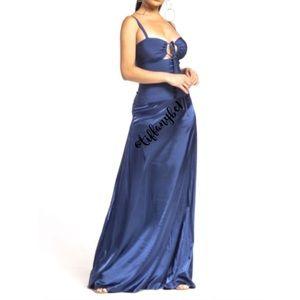 Corset Lace Up Front Sleeveless Maxi Dress Blue